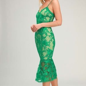 Lulus Deeply Cherished Green Lace Midi Dress